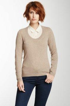 scoop neck neutral sweater