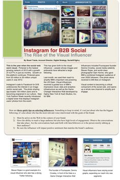Instagram for B2B Social - The Rise of the Visual Influencer Social Web, Social Media, Pinterest Tutorial, Interactive Walls, University Of Louisville, Mobile Technology, Digital Strategy, Promote Your Business, Profile Photo
