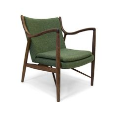 "Round out your vintage-inspired décor with this lovely Capistrano Arm Chair. You'll adore its mod version of the ""bony"" retro build, updated with interesting curves and angles. Gorgeous solid walnut se...  Find the Capistrano Arm Chair in Green, as seen in the Rustic Minimalism on California's Coastline Collection at http://dotandbo.com/collections/rustic-minimalism-on-californias-coastline?utm_source=pinterest&utm_medium=organic&db_sku=106156"