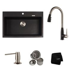 KRAUS All-in-One Dual Mount Granite Zero Hole Single Bowl Kitchen Sink with Faucet in Stainless or Spotless Black Onyx offers flexible functionality. Single Sink Kitchen, Granite Kitchen Sinks, Single Bowl Sink, Single Bowl Kitchen Sink, Kitchen Sink Faucets, Kitchen Black, Kitchen Work Station, Black Sink, Basin Design