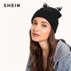 d985e54a93d SHEIN Black Cat Ear Knit Beanie Hat Women Winter Autumn Female Cute Cap  Ladies All Matched Warm Hats