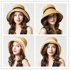 Straw beach hat for women UV foldable wide brim sun hat for summer