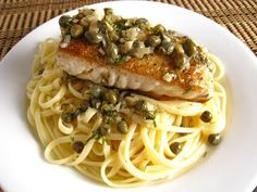 ClosetCooking (wonderful site) Halibut with a Lemon Dill Caper Sauce on Fettuccine
