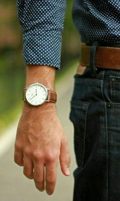 leather strap and large clock face is the way to go