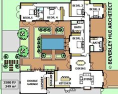 U-SHAPED HOUSE PLANS WITH POOL IN THE MIDDLE | COURTYARD & HORSESHOE DESIGN BY ARCHITECT
