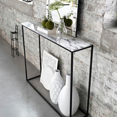 Mahaut Black Metal and Marble Console Table