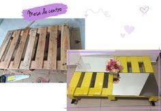 Mesa de centro amarela usando paletes (pallets) e espelho. Saiba mais no blog clicando na foto!