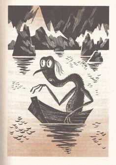 Illustration of Gollum from a Russian version of the Hobbit! #tolkein #hobbit #golem #gollum #vintage #illustration #monster #drawing myth-cryptozoology