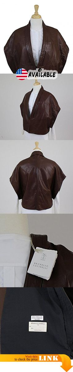 B01HGR4AC8 : Brunello Cucinelli Woman's Luxurious Brown 100% Leather Jacket 40/4.