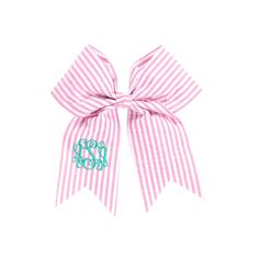 Large Monogrammed SeerSucker Hairbows -Navy or Pink - Preppy Hairbow - Tailgate - Team Colors Hairbows by SouthernPrepBoutique on Etsy https://www.etsy.com/listing/265142788/large-monogrammed-seersucker-hairbows