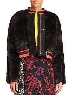 Tanya Taylor Fran Faux Fur Jacket - Black - Size
