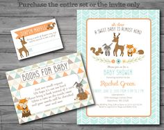 PRINTED, Woodland Baby Shower Invitation, woodland baby shower invite, woodland theme, gender neutral, books for baby, diaper raffle by HappyGoLucyDesigns on Etsy https://www.etsy.com/listing/286189941/printed-woodland-baby-shower-invitation