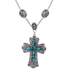 Yazilind Vintage Tibetan Silver Cross Rimous Turquoise Carved Pattern Pendant Necklace for Women Yazilind http://www.amazon.com/dp/B00KOCGWBU/ref=cm_sw_r_pi_dp_IHEuub0DP000T