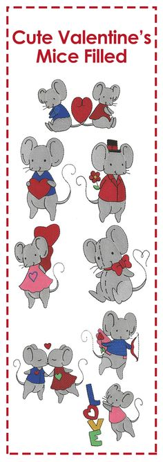 How CUTE are these 8 little mice designs decked out for Valentine's Day?? Sweet and simple :)