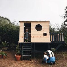 The po po was out at the clubhouse today.apparently not sharing your early valentines candy is a serious offense. We love this addition to our yard it's got us outside way more and imagination is soaring! Backyard Fort, Backyard Playhouse, Build A Playhouse, Backyard Playground, Backyard For Kids, Cubby Houses, Play Houses, Outside Playhouse, Wendy House