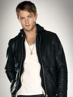 White tshirt + leather jacket + babe = best picture. Wade from 'Hart of Dixie' ~ Wilson Bethel