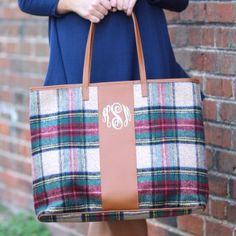 https://marleylilly.com/product/monogrammed-plaid-tote-bag/.  Love this bag