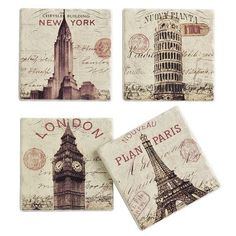 (Tile replacements - break out pieces of tile in the kitchen or bathroom and add these!) City Sandstone Coasters - set of 4