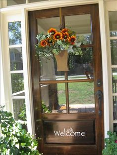 Welcoming front door with Flower Market Bucket from Willow House...