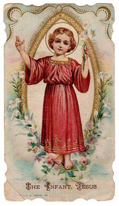 The Infant Jesus Vintage Die Cut Holy Card