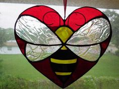 Handmade Bumble Bee Heart Stained Glass Suncatcher | eBay