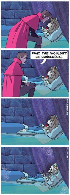 These Disney Princess comics are beyond funny. Every Disney fan needs to see these. Funny Disney Pictures, Funny Animal Pictures, Funny Animals, Humour Disney, Disney Memes, Sleeping Beauty Funny, Disney Princess Memes, Disney Princesses, Dark Comics