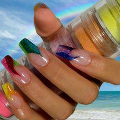 Rainbow Glitter Acrylic Nails