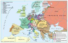 Mapa de Europa tras el Congreso de Viena en 1815. Tras la derrota de Napoleón, Francia vuelve a sus fronteras anteriores a Napoleón; desaparece el Sacro Imperio, y se crea la Confederación Germánica; desaparecen las Provincias Unidas, y se crea el Reino de los Paises Bajos (con Bélgica); Austria, Prusia y Rusia adquieren nuevos territorios (Italia, Polonia...).