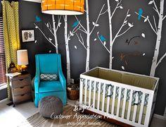 Decal parete - foresta urbana inverno albero Wall Decal, uccelli, decalcomanie della parete Nursery Wall Sticker, decorazione della parete, carta da parati