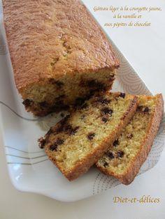 Gâteau léger à la courgette jaune, à la vanille et aux pépites de chocolat : Diet & Délices - Recettes dietétiques