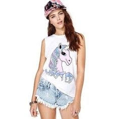 Boutique Tops - Wasted Rainbow Unicorn Sleeveless Muscle Tee