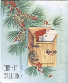 Vintage Christmas Card - Mailbox with Letters