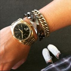 Oversized gold-colored watch with black face Chunky gold statement watch. Material content: base metals. Nickel-free lead-free. Adjustable links and closure. Brand new retail item. T&J Designs Accessories Watches