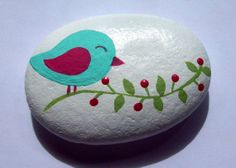 Hand Painted Bird in Tree Stone by CheeryGiftsAndDecor on Etsy