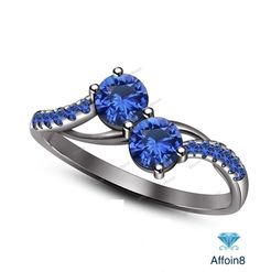 1.1 CT Round Cut Blue Sapphire In 925 Silver Two-Stone Engagement Ring Size 5-12 #Affoin8 #TwoStoneEngagementRing