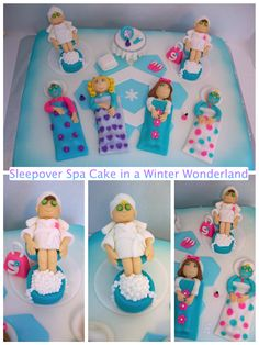 Sleepover Spa Party Cake in a Winter Wonderland Spa Birthday Cake, 13th Birthday Parties, 11th Birthday, Slumber Parties, Birthday Ideas, Birthday Stuff, Birthday Decorations, Spa Party Cakes, Spa Cake