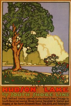 HUDSON LAKE SOUTH SHORE FLOWERS CHICAGO ILLINOIS FINE VINTAGE POSTER REPRO LARGE | eBay