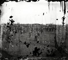 "November 19, 1863. ""Dedication of Monument at Gettysburg, Pennsylvania."" Wet plate glass negative by Alexander Gardner.  ""President Abraham Lincoln delivered his Gettysburg Address at the dedication. Examination of the image in 2007 by members of the Center for Civil War Photography indicates that Lincoln may be visible in the crowd when viewed through magnification."" -- Library of Congress Prints & Photographs Division"