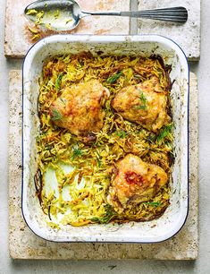 Try our easy chicken and rice pilaf recipe. Add a bit of spice to your traybake with cinnamon, cumin and turmeric - an easy midweek chicken dinner recipe Best Chicken Thigh Recipe, Easy Chicken Thigh Recipes, Easy Chicken And Rice, Chicken Recipes, Easy Chicken Dishes, Slow Cooker Recipes, Cooking Recipes, Tray Bake Recipes, Tray Bakes