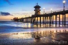 Wet sand and retreating ocean highlights light reflections from the recent sunset at the HB Pier in Huntington Beach, California. This blue hour seascape features unique sand detail and cool blue and orange tones for a modern beach photography collection.  This California sunset photo is printed on professional-grade kodak endura paper with a lustre finish.  // More Huntington Beach photos: http://etsy.me/2n9Qg9R  // More Harbor, Ocean & Beach photos: ht...