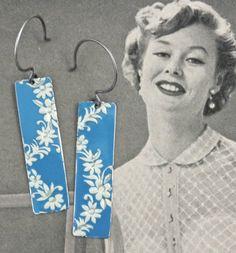 Tin Earrings, Vintage Earrings, Vintage Tin, Recycled Earrings, Recycled Metal Earrings,Tin Can, Tin Jewelry, Gift, Christmas Earrings on Etsy, $19.00