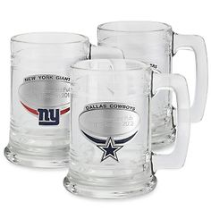 """When it comes to aficionados of the NFL, the word """"fan"""" often doesn't do justice to their allegiance and passion. They live for Sundays, and they bleed their team's colors, and this tankard is all for them. Oversized, as any self-respecting football tankard should be, it proudly displays the team's logo on a pewter emblem that can be engraved with a fun personal message. Looks great displayed on a shelf, and even better filled to the brim with his favorite frosty beverage.<br><br>-A great…"""