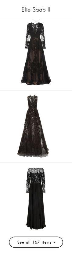 """Elie Saab II"" by sakuragirl ❤ liked on Polyvore featuring dresses, gowns, long dresses, elie saab, elie saab evening gowns, lace evening dress, lace tulle dress, long tulle dress, vestidos and black"