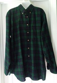 Pendleton Black Watch Tartan Plaid Flannel Shirt Size XL Green Black Wool VTG  #Pendleton #ButtonFront