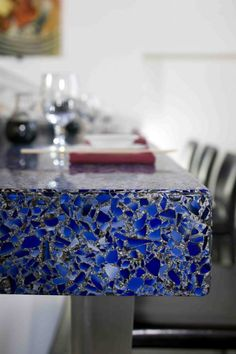 Recycled glass countertop!  I want!!!