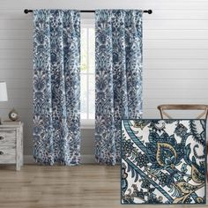 """Give your home a fresh new look with the Alpine window curtains from Aubrie Home Accents. This pair of curtain panels features an all-over paisley print in shades of blue and beige that adds a traditional look to your bedroom, living room or dining room. Each panel measures 40"""" x 84"""" for a total width of 80 inches. The rod pocket header allows them to easily slip through for quick hanging. These curtains are made from polyester and are machine washable for easy care."""