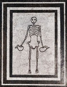 Skeleton bearing wine jugs, 1st cent mosaic from Pompeii, Naples Archaeological Museum