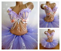 Pastel Lavender Rave Outfit, Rave Bra TuTu, Victorian Burlesque Costume, Pastel Goth Outfit, EDC Outfit, Marie Antoinette Outfit, EDM Outfit