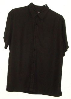 Axcess Claiborne Mens Black Rayon Polyester Short Sleeve Button Down Shirt Large #Axcess #ButtonFront