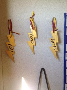 Harry Potter themed bathroom and hall passes